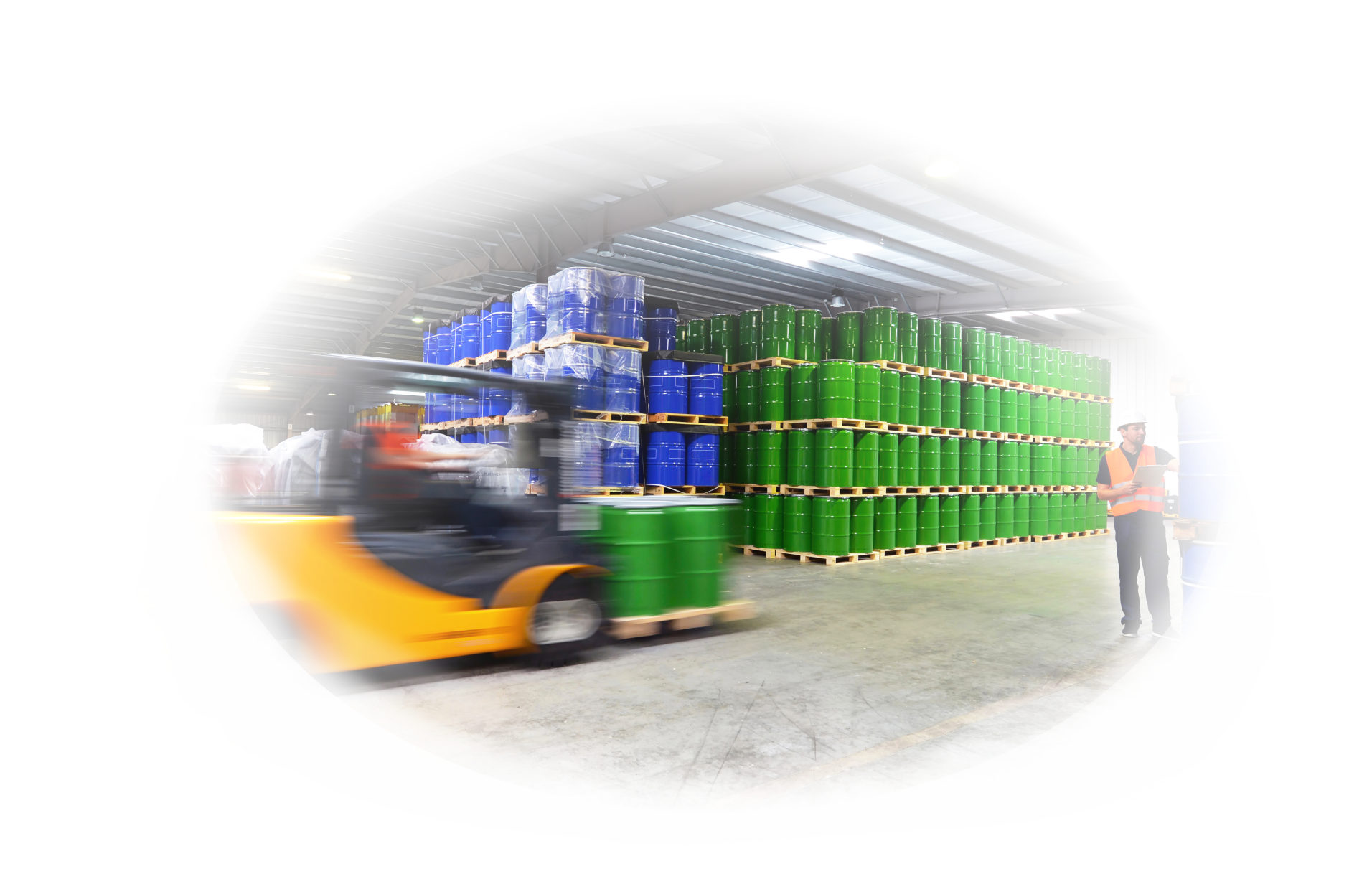shipping - forklift and workers in a warehouse